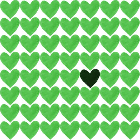Dark green heart with a crowd of other greenery hearts. Deep green heart, drawn by watercolor, and a lot of light green separate hearts around. Stock Photo