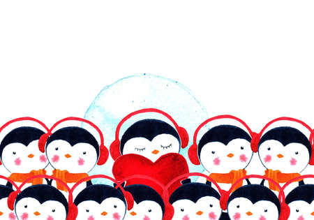 Crowd of penguins. One penguin in headphones holding a heart and listening to music. Love is music. Life is music. Watercolor illustration Stock Photo