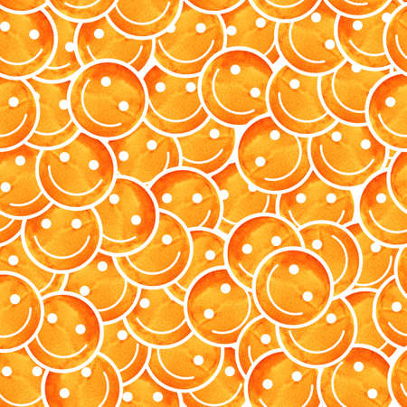 Crowd of Smiling emoticons. Smiles icon pattern. Modern pattern with colourful smileys for textiles, fabrics, prints, designs. Smiley face background. Stock Photo