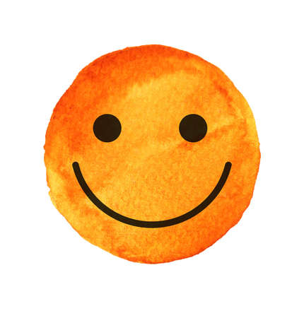 caras pintadas: Smiling face, painted with yellow watercolor. Yellow smile sign