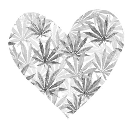 Heart of gray cannabis sativa leaves painted in watercolor. Realistic scientific illustration of plant. Hand drawn marijuana illustration isolated on white background. Design element Stock Photo