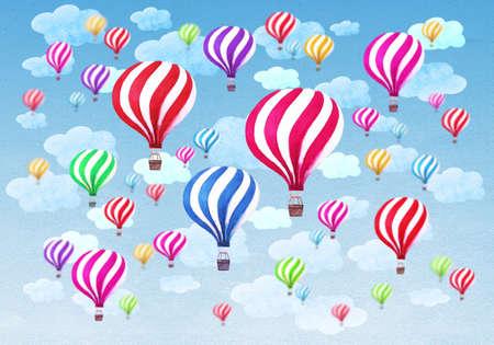 Heißluftballone mit Wolken auf Hintergrund des blauen Himmels. Aquarell Muster mit Heißluftballons. Hand gezeichnete Aquarellcollagenillustration. Textur für Grußkarten, Banner, Poster, Drucke