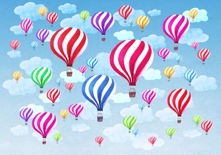Hot air balloons with clouds on blue sky background. Watercolor pattern with hot air balloons. Hand drawn watercolour collage illustration. Texture for greeting cards, banners, posters, prints