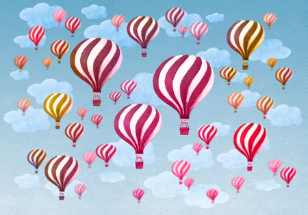 airship: Hot air balloons flying throught a cloudy blue sky. Vintage air balloons. Retro engraving air balloons in the clouds. Watercolor illustration.