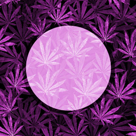 Purple Cannabis leaves on black background. Hand drawn watercolor illustration of the plant Cannabis Sativa or Marijuana. Pattern with marijuana leaf for label, poster, web. Stock Photo
