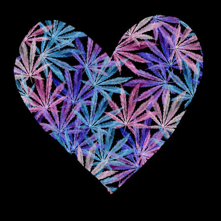 narcotic: Heart of Bright blue cannabis sativa leaves painted in watercolor. Realistic scientific illustration of plant. Hand drawn marijuana illustration isolated on white background. Design element