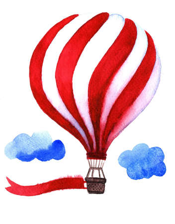 charity collection: Watercolor hot air balloon with flag. Illustration isolated on white background. Celebration festive background with balloon. Perfect for invitations,posters and cards