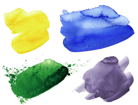 Set of watercolor colorful spots isolated on a white background. Abstract watercolour stains in various colours. Paint brush strokes in purple, blue, green, yloow. Handmade textures for design