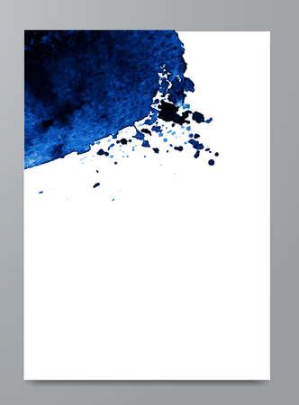 Mancha azul aquarela de mão desenhada. Fundo de aguarela índigo. Spot com gotículas, manchas, manchas, salpicos. Elemento para seus fundos de design e decoração, banners, folhetos.