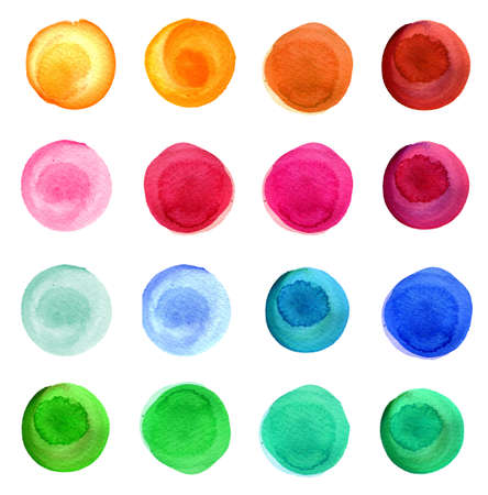 Set of colorful watercolor hand painted circle isolated on white. Watercolor Illustration for artistic design. Round stains, blobs of blue, red, green, brown