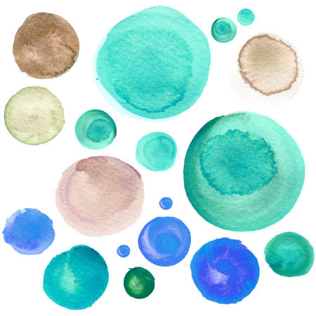 Set of colorful watercolor hand painted circle isolated on white. Watercolor Illustration for artistic design. Round stains, blobs of sky blue, mint green, brown Stock Photo