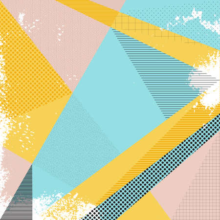 Abstract vector background in trendy retro 80s, 90s memphis style. Universal card, pastel colors. Retro design, fashion art. Modern abstract design poster, cover, card design. Geometric background in retro 80s-90s style. Memphis trendy art. Illustration