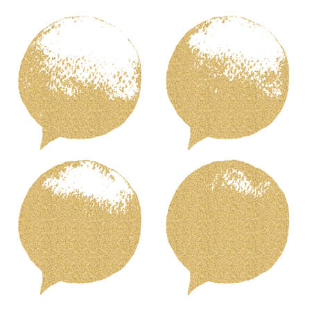 Set of textured hand drawn speech bubbles. Speak bubble with uneven edges. Vintage design element. Grunge and gold textured shapes