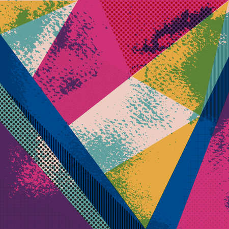 Abstract vector background in trendy retro 80s, 90s memphis style. Universal car.