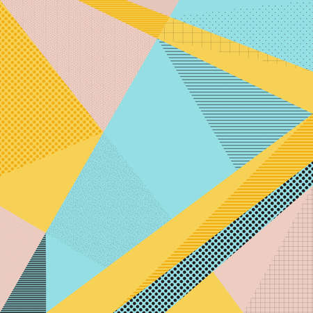 Abstract vector background in trendy retro 80s, 90s memphis style. Universal card, pastel colors. Retro design, fashion art. Modern geometric background in retro 80s-90s style. Memphis hipster fashion Illustration