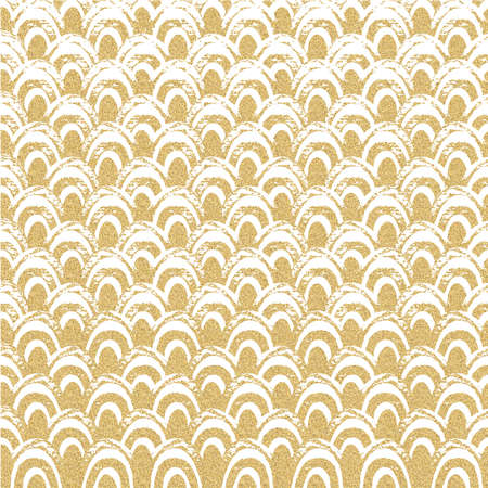 Abstract geometric pattern with gold glitter wave. Sea background. Hand-drawn vintage illustration. Creative template for card, poster, invitation, flyer, brochure. Stock Photo
