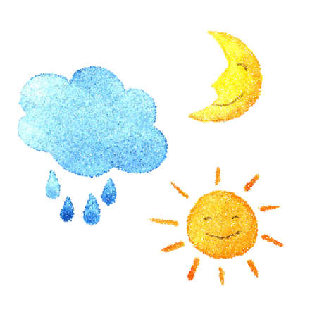 Illustration of dotted cloud with raindrops, smiling sun and happy moon isolated on white background. Dotted style drawing. Stock Photo