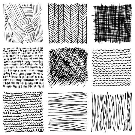 Set of hand drawn ink backgrounds. Simple vector scratchy patterns with dots, stripes, waves. Freehand textures for fabric, print, design.
