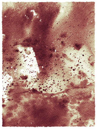scorched: Abstract watercolor background with spots and splashes in shades of brown on old paper. Texture is used for posters in grunge and retro styles.