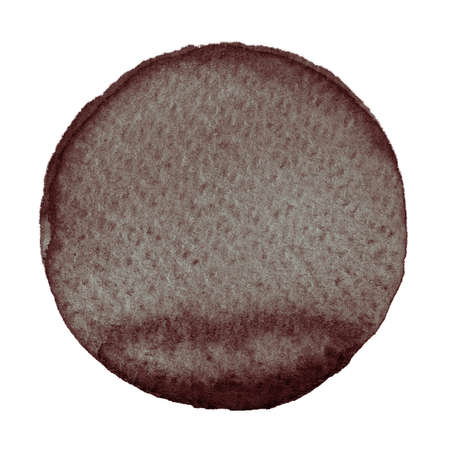 Watercolor abstract brown circle isolated on white background. A modern spot of round shape painted in watercolor in shades of hickory, pecan, chocolate and penny colors. Trendy watercolour texture