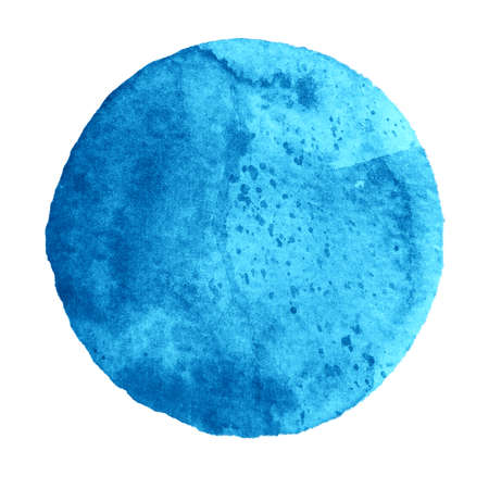 cerulean: Watercolor abstract lapis blue circle isolated on white background. Modern spot of round shape painted in watercolor in shades of azure and cerulean colors. Trendy watercolour texture of 2017 Stock Photo
