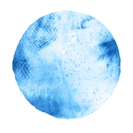 Watercolor abstract blue circle isolated on white background. Modern spot of round shape painted in watercolor in shades of cobalt and azure colors. Trendy watercolour texture
