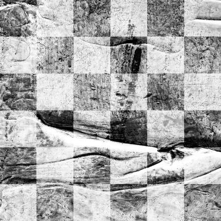 Grunge chess textured abstract checkered seamless pattern. Checkered finish flag painted with acrylic and oil paints in gray, black and white on canvas. Rows squares with distressed vintage texture
