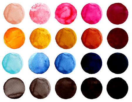 Set of colorful watercolor hand painted circle isolated on white. Watercolor Illustration for artistic design. Round stains, blobs of blue, red, pink, brown, black colors