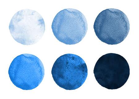 水彩サークル セルリアン、コバルト ブルー、ウルトラマリンの色合いのセットです。水彩画は、ロゴデザイン、バナー、ポスターのための要素をラ 写真素材