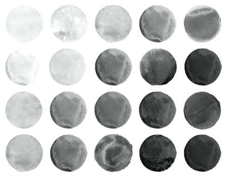 leaden splash: Watercolor hand painted circle shape design elements. Grey banners set. Watercolor stains set isolated on white background. Stock Photo