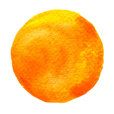 Yellow, orange circle painted with watercolor isolated on a white background. Watercolour backdrop and texture. Sample trendy watercolor colors 2017. Spicy mustard color