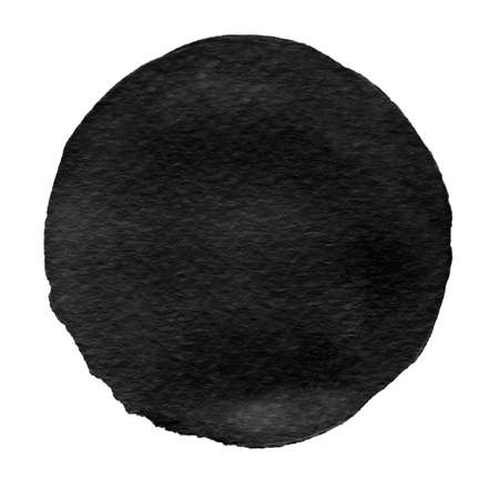 Watercolor abstract black circle isolated on white background. Modern spot of round shape painted in watercolor of ink and oil colors. Trendy watercolour texture of 2017