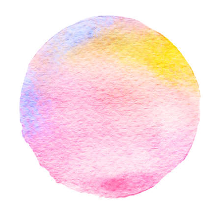 Pink, blue, yellow watercolor circle. Watercolour stain with uneven edges isolated on white background. Design element. Watercolor retro geometric round shape