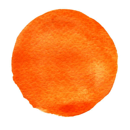 Orange watercolor circle. Watercolour stain with uneven edges isolated on white background. Design element. Watercolor retro geometric round shape