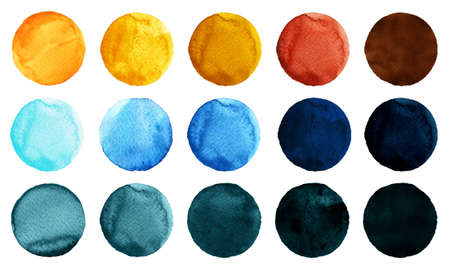 yellow  ochre: Set of watercolor circles isolated on white background. Watercolour illustration for design element, logo, pattern. Abstract watercolor round shapes, blobs of blue, yellow, brown, black colors Stock Photo