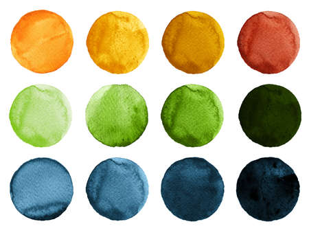 navy blue background: Set of watercolor circles isolated on white background. Watercolour illustration for design element, logo, pattern. Abstract watercolor round shapes, blobs of blue, yellow, brown, green colors Stock Photo
