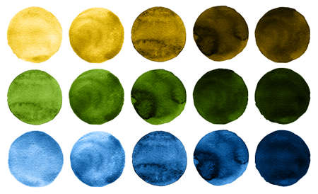 ochre: Set of watercolor circles isolated on white background. Watercolour illustration for design element, logo, pattern. Abstract watercolor round shapes, blobs of blue, yellow, brown, green colors Stock Photo