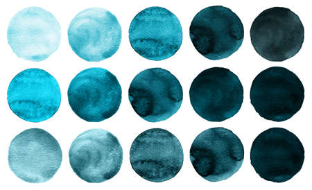 navy blue background: Watercolor circles collection blue, mint colors. Watercolor stains set isolated on white background. Design elements. Retro geometric pattern. Watercolour illustration for design element, tag
