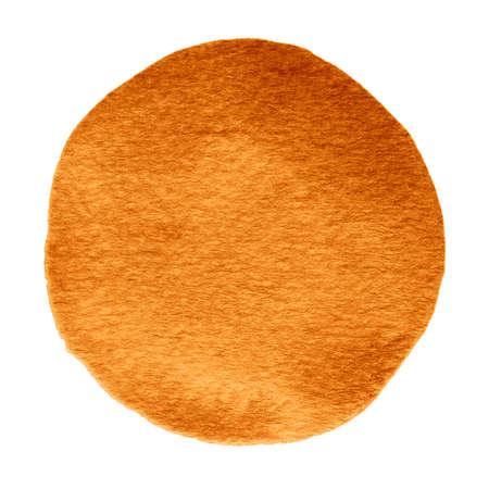 Oranje herfst esdoorn aquarel cirkel. Aquarel vlek met ongelijke randen geïsoleerd op een witte achtergrond. Ontwerpelement. Aquarel retro geometrische ronde vorm