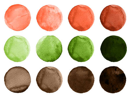 Watercolor circles in shades of green, red and brown colors isolated on white background. Watercolour round shapes for artistic design. Trendy watercolor texture