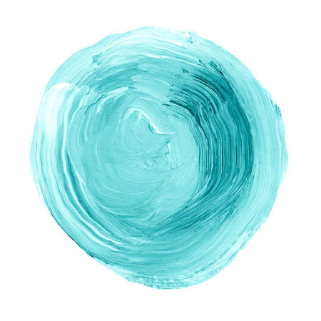 canvas print: Acrylic circle isolated on white background. Blue, mint round watercolor shape for text. Dynamic Brush Stroke. Abstract hand painted acrylic background. Element for different design
