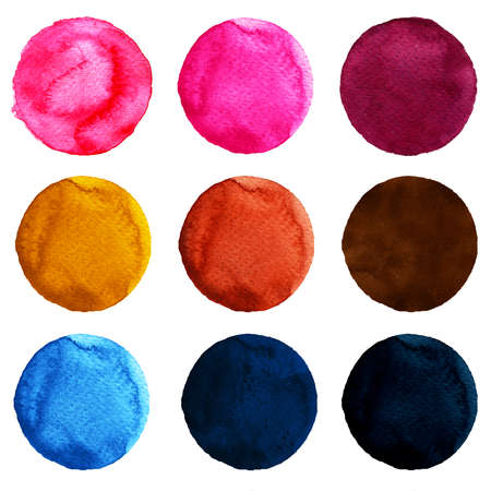 Set of watercolor circles isolated on white background. Watercolour illustration for design element, logo, pattern. Abstract watercolor round shapes, blobs of blue, yellow, brown, pink colors