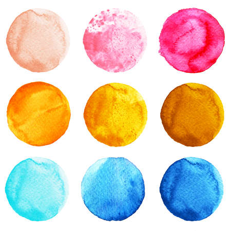Set of watercolor circles isolated on white background. Watercolour illustration for design element, logo, pattern. Abstract watercolor round shapes, blobs of blue, yellow, pink colors Stock Photo