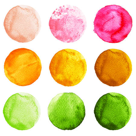 Set of watercolor circles isolated on white background. Watercolour illustration for design element, logo, pattern. Abstract watercolor round shapes, blobs of green, yellow, pink colors