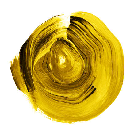Black yellow textured acrylic circle. Watercolour stain with uneven edges isolated on white background. Design element. Watercolor retro geometric round shape