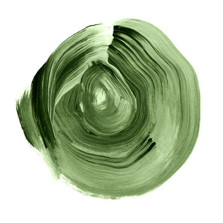 kale: Green kale textured acrylic circle. Watercolour stain with uneven edges isolated on white background. Design element. Watercolor retro geometric round shape