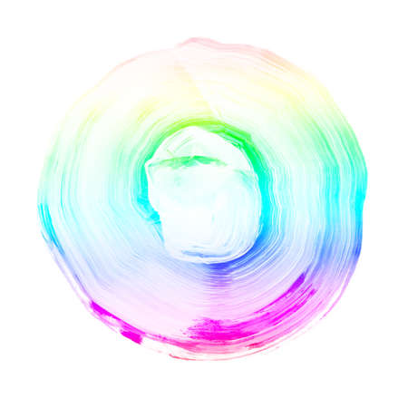 Rainbow textured acrylic circle. Watercolour stain with uneven edges isolated on white background. LGBT, gay and lesbian pride symbol. Round shape for logo template. Design element.