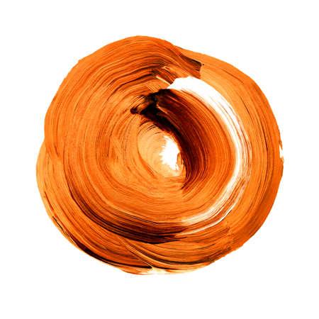 Oranje herfst esdoorn getextureerde acryl cirkel. Aquarel vlek met ongelijke randen geïsoleerd op een witte achtergrond. Ontwerpelement. Aquarel retro geometrische ronde vorm
