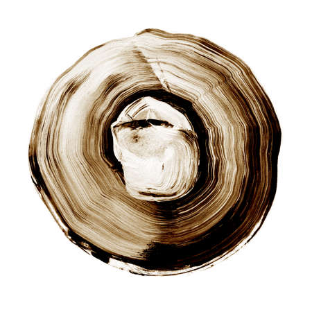 Abstract circle acrylic and watercolor painted background. White and brown grunge paint element isolated on white. Modern design element. Watercolor frame. Acrylic textured background.