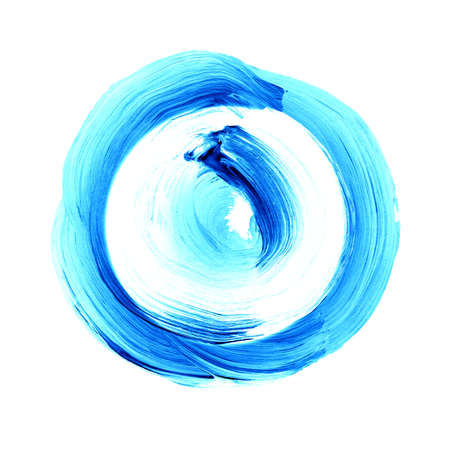 dabs: Abstract circle acrylic and watercolor painted background. White and blue grunge paint element isolated on white. Modern design element. Watercolor frame. Acrylic textured background.